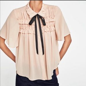 Zara Pale Pink Boho Top with Black Tie, Size Med